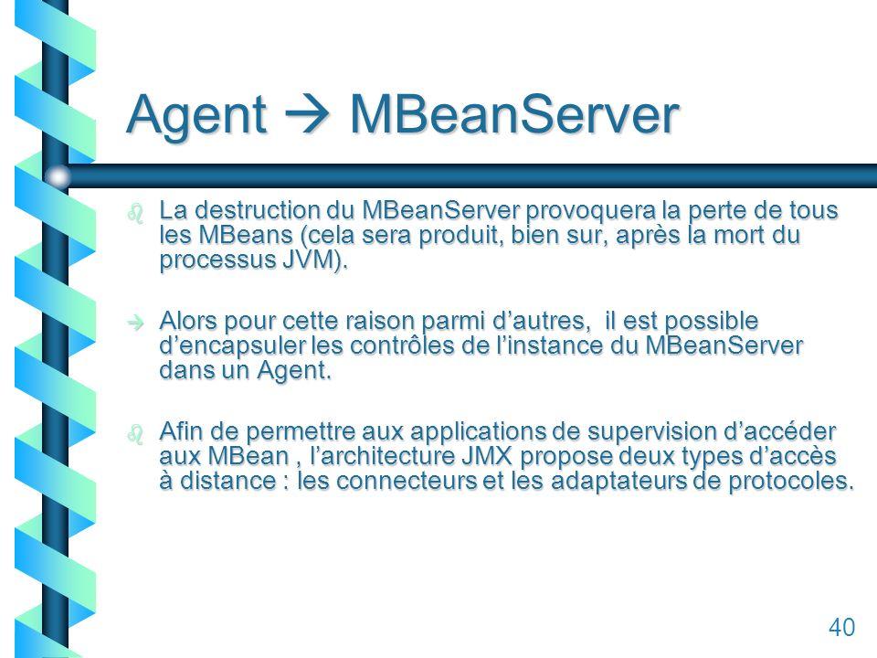 140 Agent MBeanServer b La destruction du MBeanServer provoquera la perte de tous les MBeans (cela sera produit, bien sur, après la mort du processus JVM).