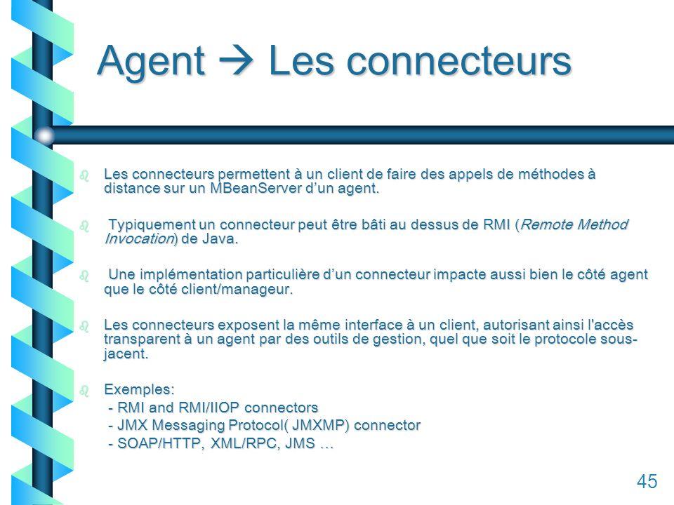145 Agent Les connecteurs b Les connecteurs permettent à un client de faire des appels de méthodes à distance sur un MBeanServer dun agent.