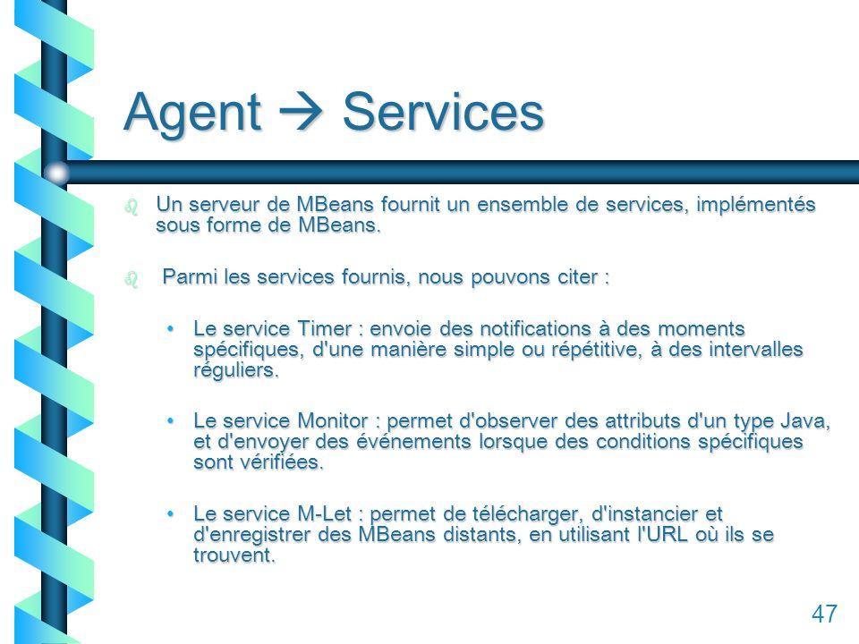 147 Agent Services b Un serveur de MBeans fournit un ensemble de services, implémentés sous forme de MBeans.