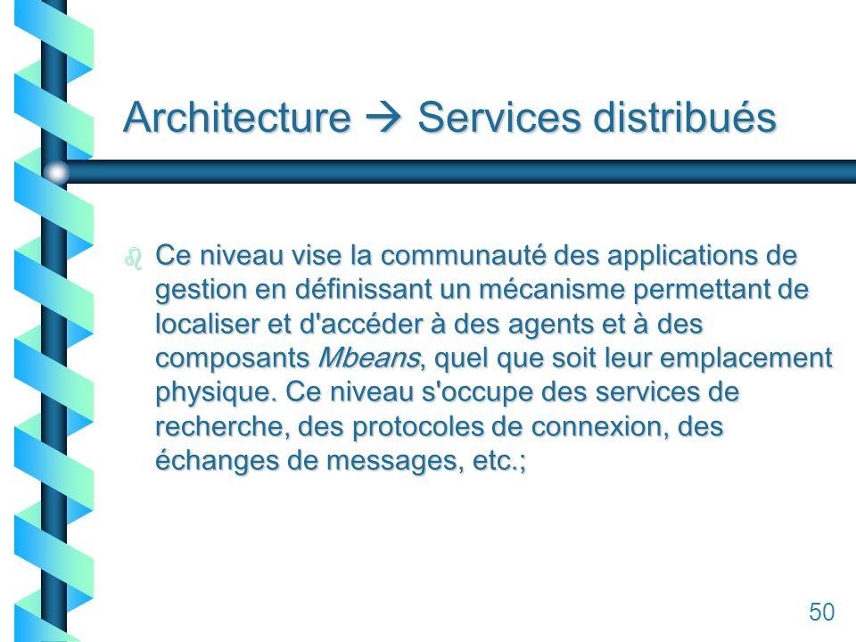 150 Architecture Services distribués b Ce niveau vise la communauté des applications de gestion en définissant un mécanisme permettant de localiser et d accéder à des agents et à des composants Mbeans, quel que soit leur emplacement physique.