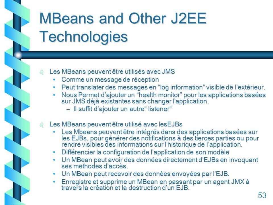 153 MBeans and Other J2EE Technologies b Les MBeans peuvent être utilisés avec JMS Comme un message de réceptionComme un message de réception Peut translater des messages en log information visible de lextérieur.Peut translater des messages en log information visible de lextérieur.