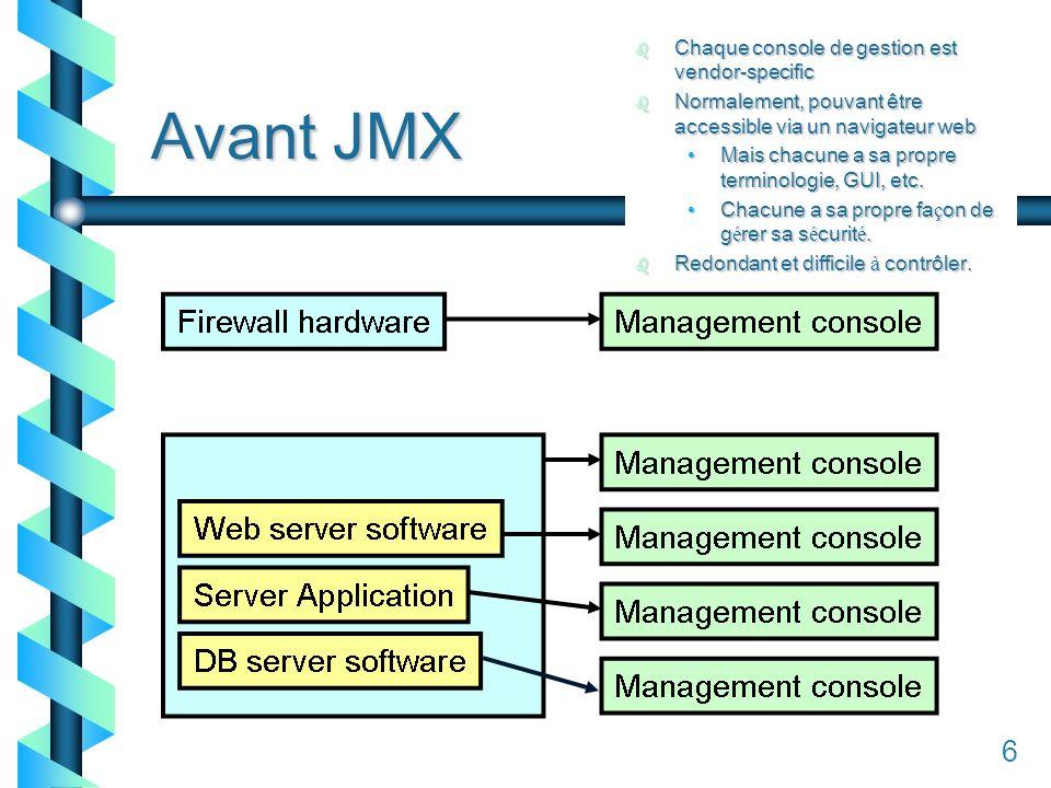 16 Avant JMX 6 b Chaque console de gestion est vendor-specific b Normalement, pouvant être accessible via un navigateur web Mais chacune a sa propre terminologie, GUI, etc.Mais chacune a sa propre terminologie, GUI, etc.