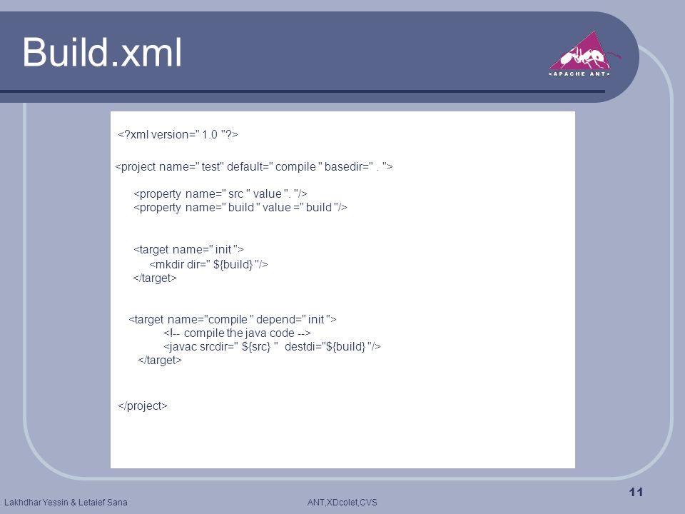 ANT,XDcolet,CVSLakhdhar Yessin & Letaief Sana 11 Build.xml