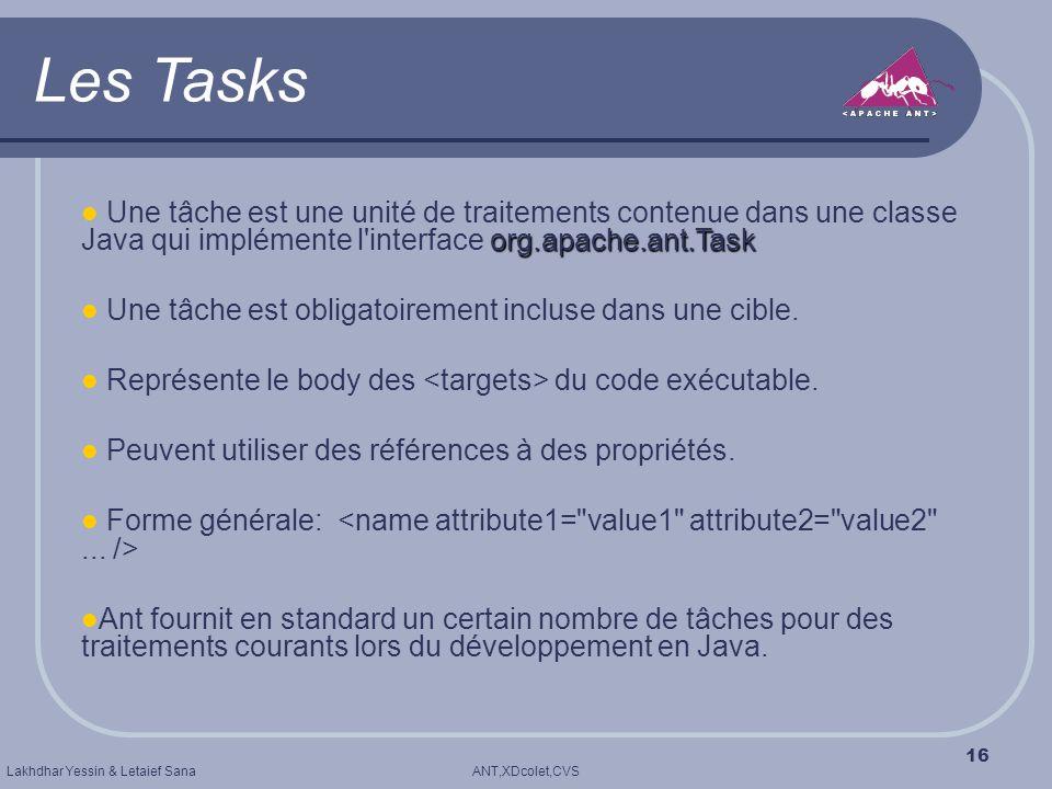 ANT,XDcolet,CVSLakhdhar Yessin & Letaief Sana 16 Les Tasks org.apache.ant.Task Une tâche est une unité de traitements contenue dans une classe Java qu