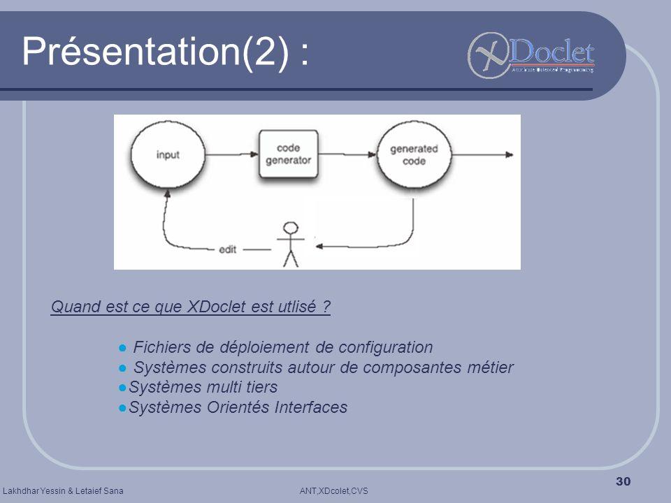 ANT,XDcolet,CVSLakhdhar Yessin & Letaief Sana 30 Présentation(2) : Quand est ce que XDoclet est utlisé ? Fichiers de déploiement de configuration Syst