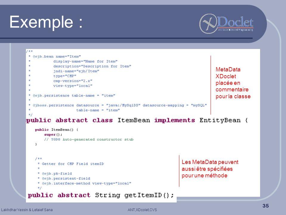 ANT,XDcolet,CVSLakhdhar Yessin & Letaief Sana 35 Exemple : Les MetaData peuvent aussi être spécifiées pour une méthode MetaData XDoclet placée en comm