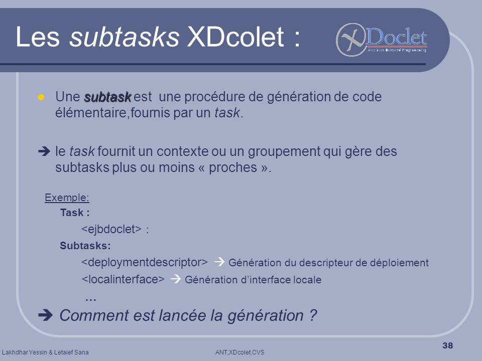 ANT,XDcolet,CVSLakhdhar Yessin & Letaief Sana 38 Les subtasks XDcolet : subtask Une subtask est une procédure de génération de code élémentaire,fourni