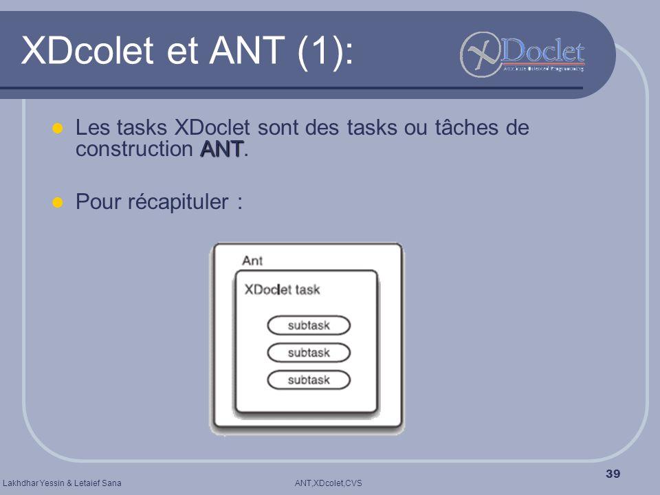 ANT,XDcolet,CVSLakhdhar Yessin & Letaief Sana 39 XDcolet et ANT (1): ANT Les tasks XDoclet sont des tasks ou tâches de construction ANT. Pour récapitu