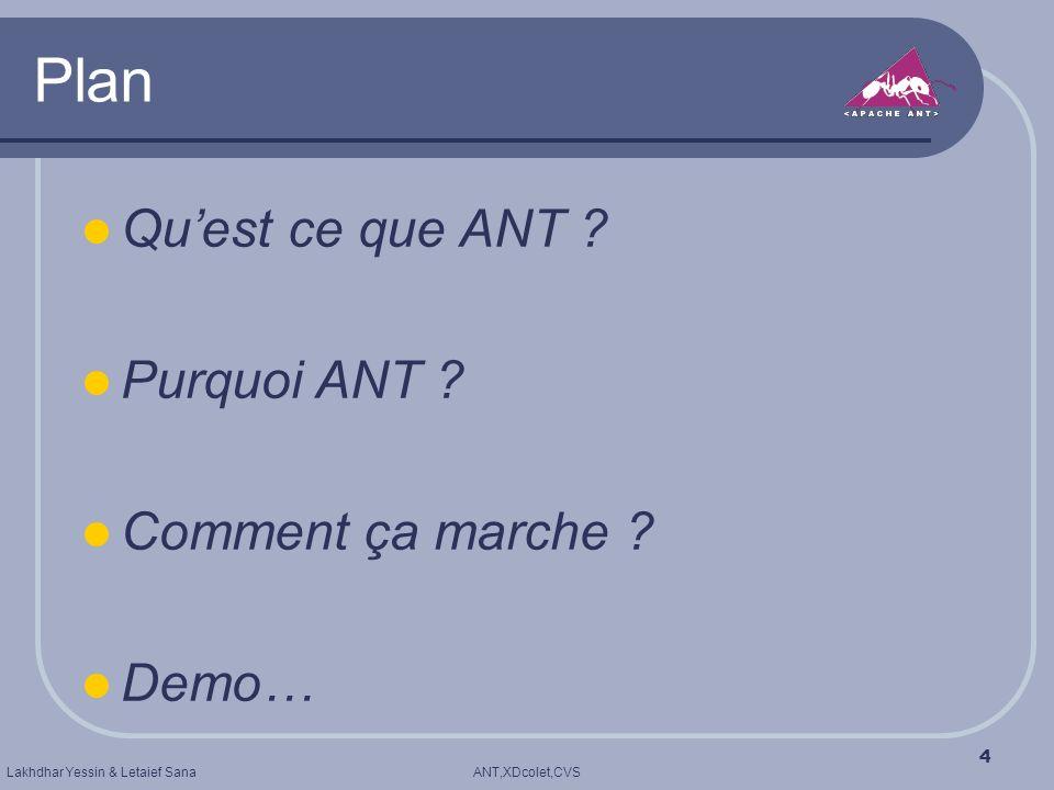ANT,XDcolet,CVSLakhdhar Yessin & Letaief Sana 4 Plan Quest ce que ANT ? Purquoi ANT ? Comment ça marche ? Demo…