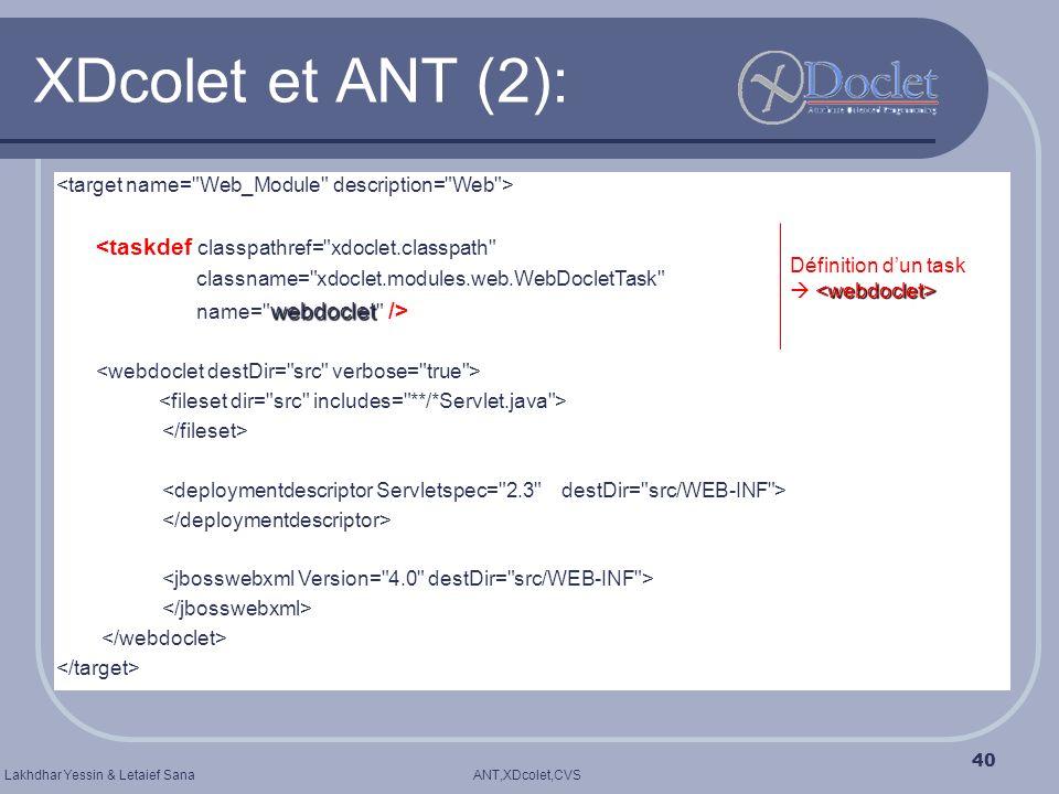 ANT,XDcolet,CVSLakhdhar Yessin & Letaief Sana 40 XDcolet et ANT (2): <taskdef classpathref=