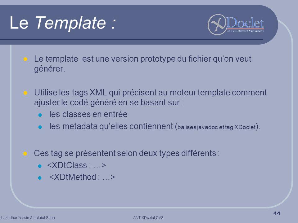 ANT,XDcolet,CVSLakhdhar Yessin & Letaief Sana 44 Le Template : Le template est une version prototype du fichier quon veut générer. Utilise les tags XM
