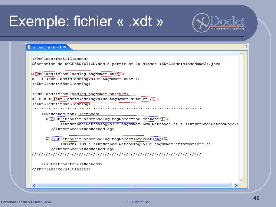 ANT,XDcolet,CVSLakhdhar Yessin & Letaief Sana 46 Exemple: fichier «.xdt »