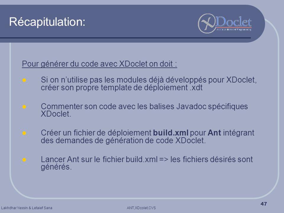 ANT,XDcolet,CVSLakhdhar Yessin & Letaief Sana 47 Récapitulation: Pour générer du code avec XDoclet on doit : Si on nutilise pas les modules déjà dével