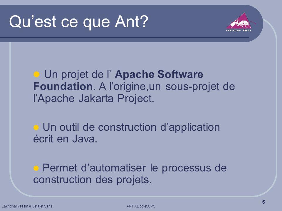 ANT,XDcolet,CVSLakhdhar Yessin & Letaief Sana 5 Quest ce que Ant? Un projet de l Apache Software Foundation. A lorigine,un sous-projet de lApache Jaka