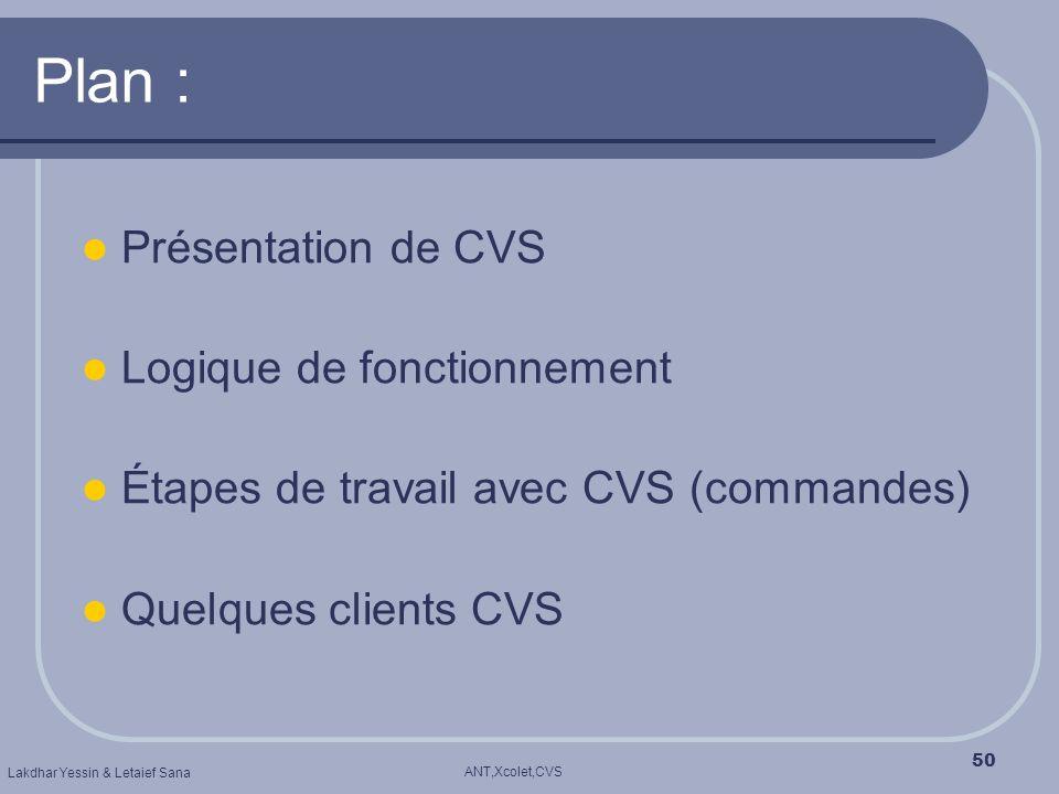 ANT,Xcolet,CVS Lakdhar Yessin & Letaief Sana 50 Plan : Présentation de CVS Logique de fonctionnement Étapes de travail avec CVS (commandes) Quelques c