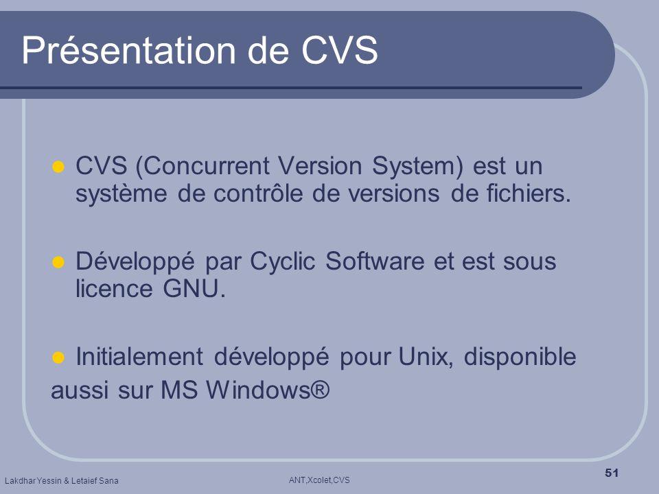 ANT,Xcolet,CVS Lakdhar Yessin & Letaief Sana 51 Présentation de CVS CVS (Concurrent Version System) est un système de contrôle de versions de fichiers
