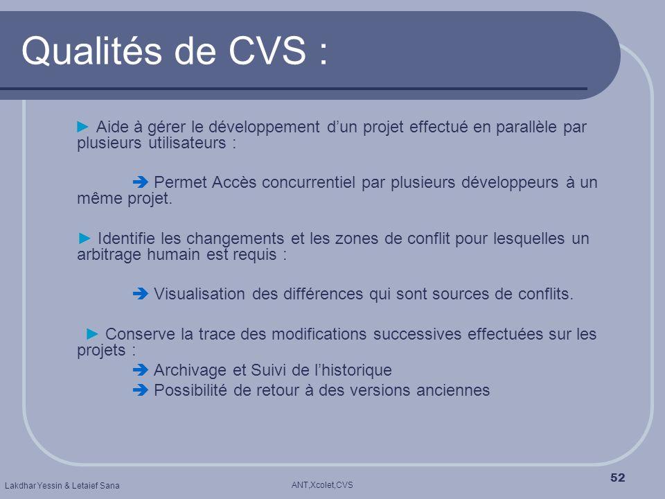 ANT,Xcolet,CVS Lakdhar Yessin & Letaief Sana 52 Qualités de CVS : Aide à gérer le développement dun projet effectué en parallèle par plusieurs utilisa