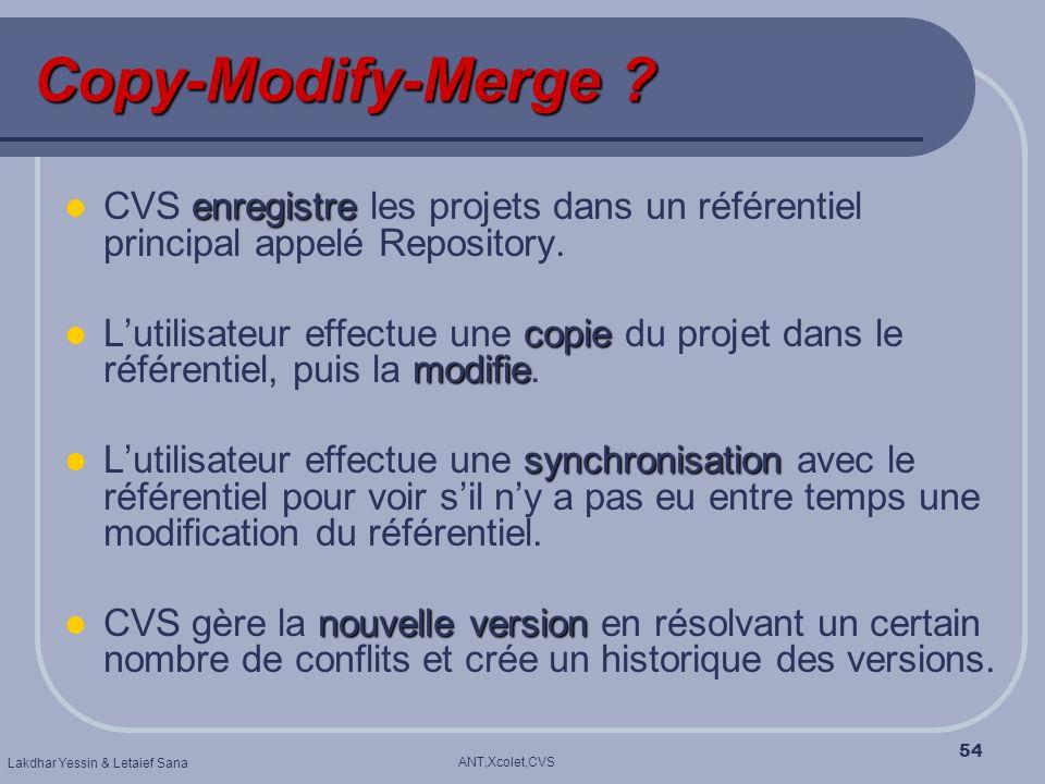 ANT,Xcolet,CVS Lakdhar Yessin & Letaief Sana 54 Copy-Modify-Merge ? enregistre CVS enregistre les projets dans un référentiel principal appelé Reposit