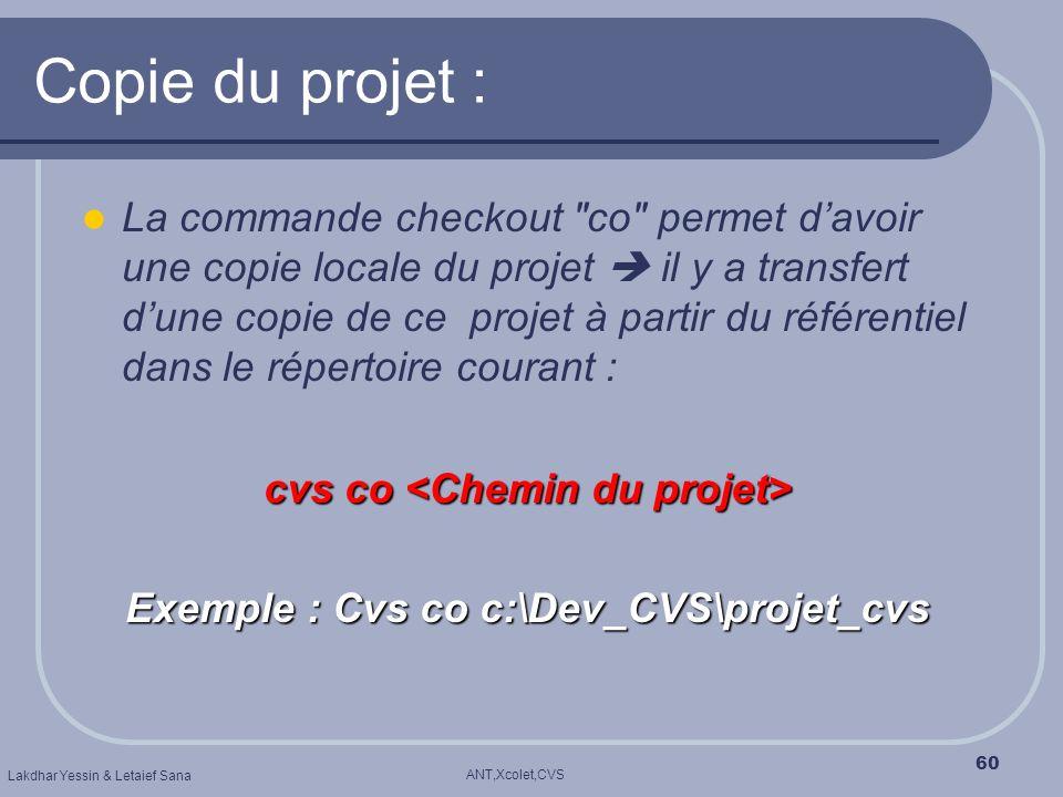 ANT,Xcolet,CVS Lakdhar Yessin & Letaief Sana 60 Copie du projet : La commande checkout