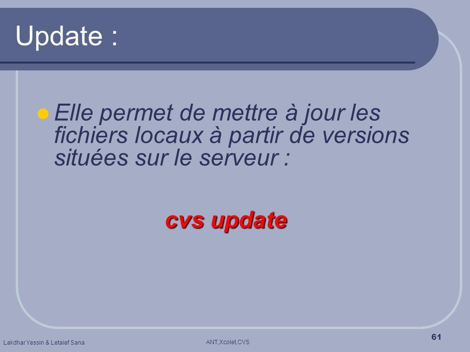 ANT,Xcolet,CVS Lakdhar Yessin & Letaief Sana 61 Update : Elle permet de mettre à jour les fichiers locaux à partir de versions situées sur le serveur