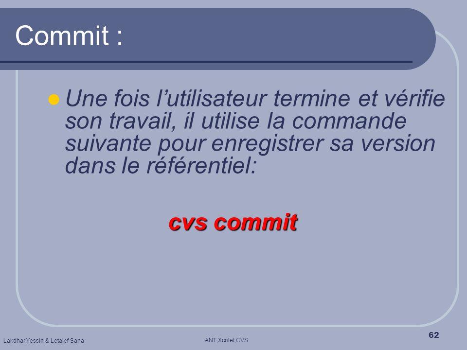 ANT,Xcolet,CVS Lakdhar Yessin & Letaief Sana 62 Commit : cvs commit Une fois lutilisateur termine et vérifie son travail, il utilise la commande suiva