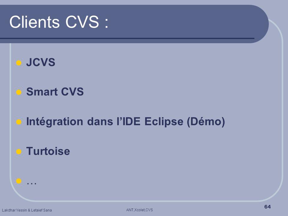 ANT,Xcolet,CVS Lakdhar Yessin & Letaief Sana 64 Clients CVS : JCVS Smart CVS Intégration dans lIDE Eclipse (Démo) Turtoise …