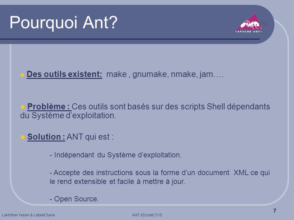 ANT,XDcolet,CVSLakhdhar Yessin & Letaief Sana 7 Pourquoi Ant? Des outils existent: make, gnumake, nmake, jam…. Problème : Ces outils sont basés sur de