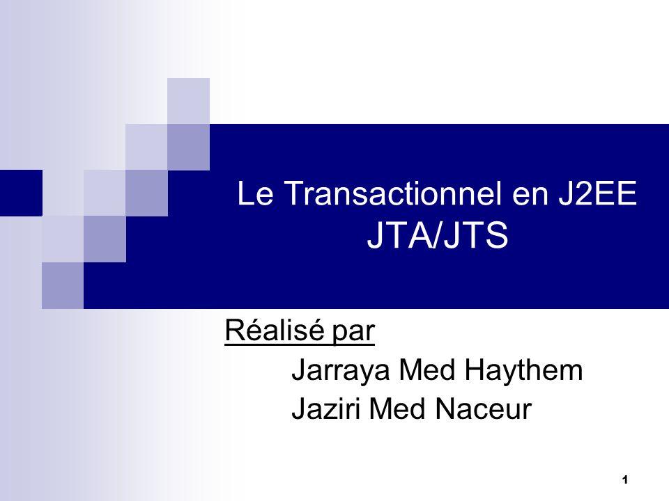 42 JTS (Java Transaction Service) Les services de transactions distribués dans Enterprise Java middleware font appel a cinq acteurs - Un gestionnaire de transaction(Transaction Manger): Il offre les services et les fonctions requises pour supporter les limites, la synchronisation et le contexte de propagation des transactions.