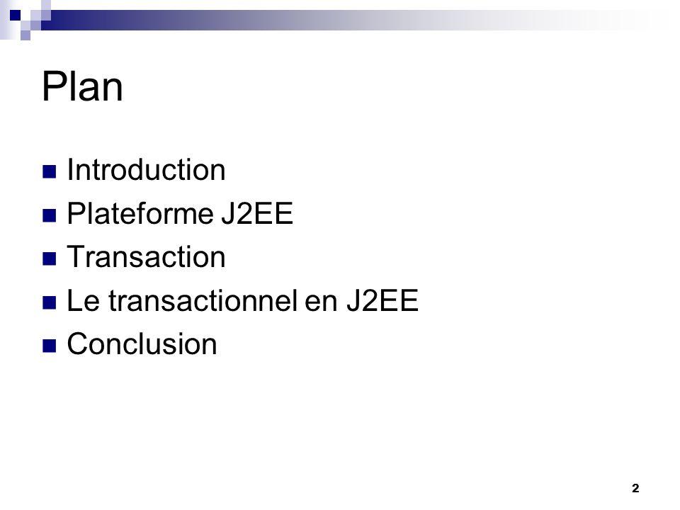 23 Le transactionnel en J2EE Transaction gérée par le conteneur Transaction gérée par le bean JTA(Java Transaction API) JTS(Java Transaction Service) Transaction JDBC vs Transaction JTA Récapitulatif