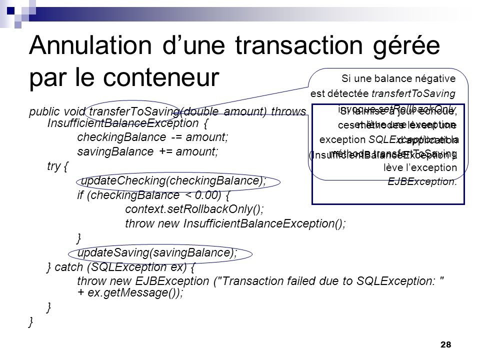28 Annulation dune transaction gérée par le conteneur public void transferToSaving(double amount) throws InsufficientBalanceException { checkingBalanc