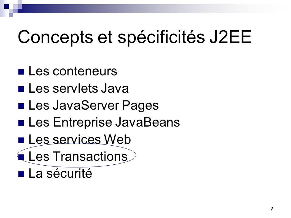 8 Architecture et APIs J2EE www.commentcamarche.net/j2ee/ API définissant des interfaces standards avec un gestionnaire de transactions.