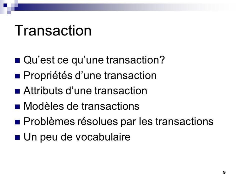 40 JTS (Java Transaction Service) JTS spécifie limplémentation dun gestionnaire de transaction qui supporte: - La spécification JTA(haut niveau).