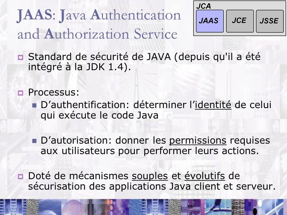 JAAS: Java Authentication and Authorization Service Standard de sécurité de JAVA (depuis qu'il a été intégré à la JDK 1.4). Processus: Dauthentificati