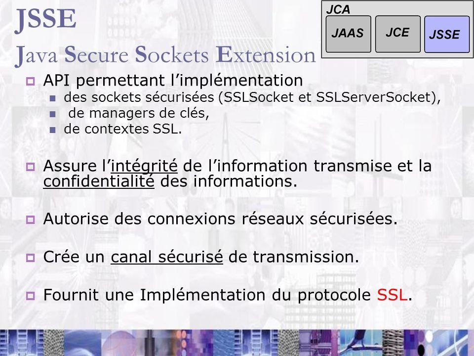 JSSE Java Secure Sockets Extension API permettant limplémentation des sockets sécurisées (SSLSocket et SSLServerSocket), de managers de clés, de conte