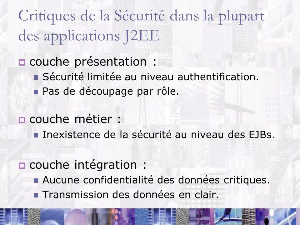 Critiques de la Sécurité dans la plupart des applications J2EE couche présentation : Sécurité limitée au niveau authentification. Pas de découpage par