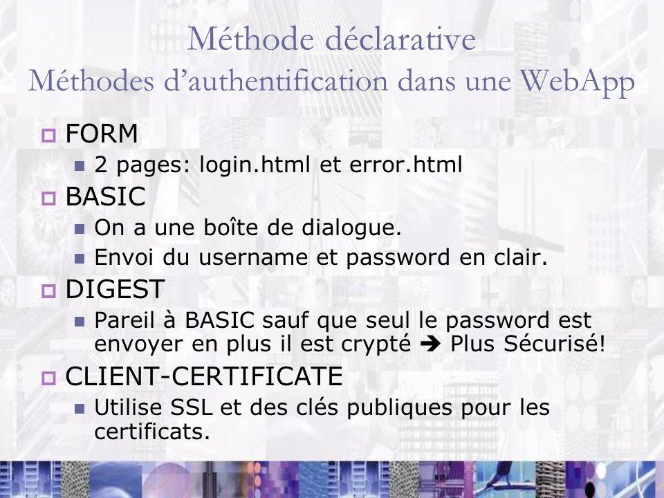 Méthode déclarative Méthodes dauthentification dans une WebApp FORM 2 pages: login.html et error.html BASIC On a une boîte de dialogue. Envoi du usern