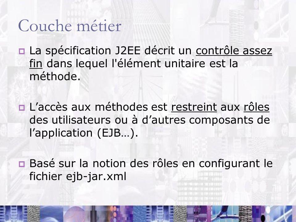 Couche métier La spécification J2EE décrit un contrôle assez fin dans lequel l'élément unitaire est la méthode. Laccès aux méthodes est restreint aux