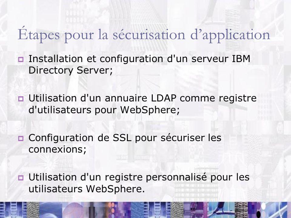 Étapes pour la sécurisation dapplication Installation et configuration d'un serveur IBM Directory Server; Utilisation d'un annuaire LDAP comme registr