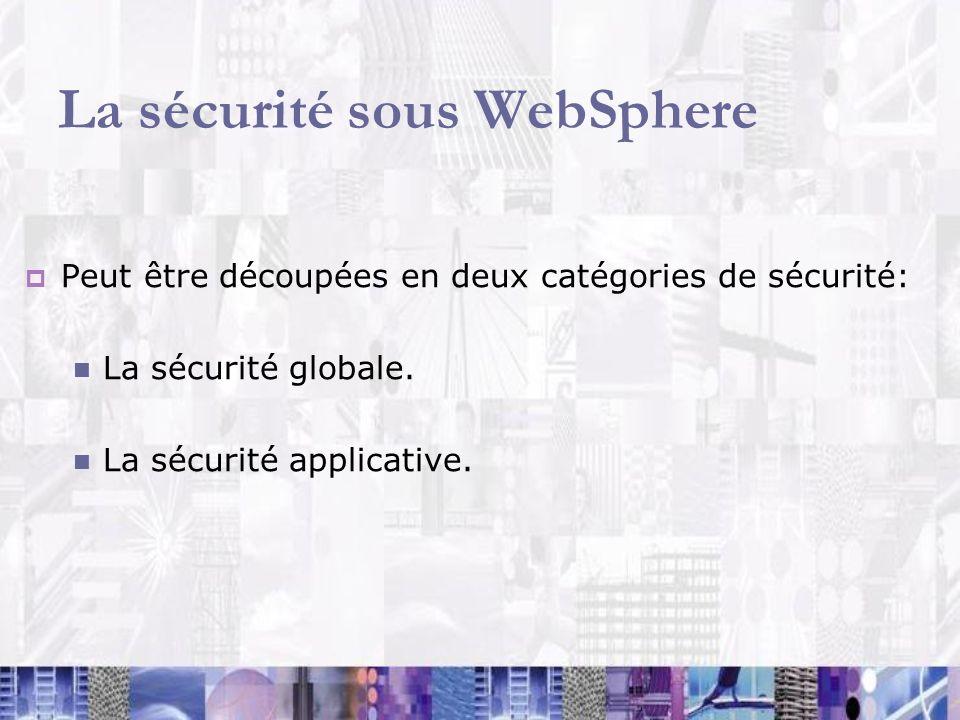 La sécurité sous WebSphere Peut être découpées en deux catégories de sécurité: La sécurité globale. La sécurité applicative.