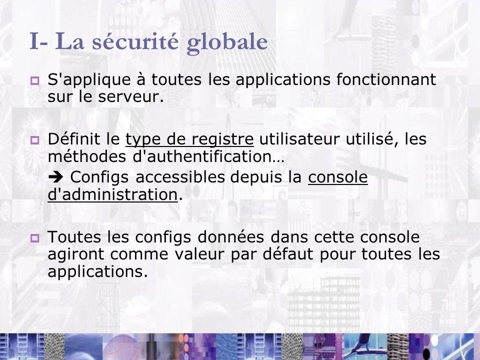 I- La sécurité globale S'applique à toutes les applications fonctionnant sur le serveur. Définit le type de registre utilisateur utilisé, les méthodes