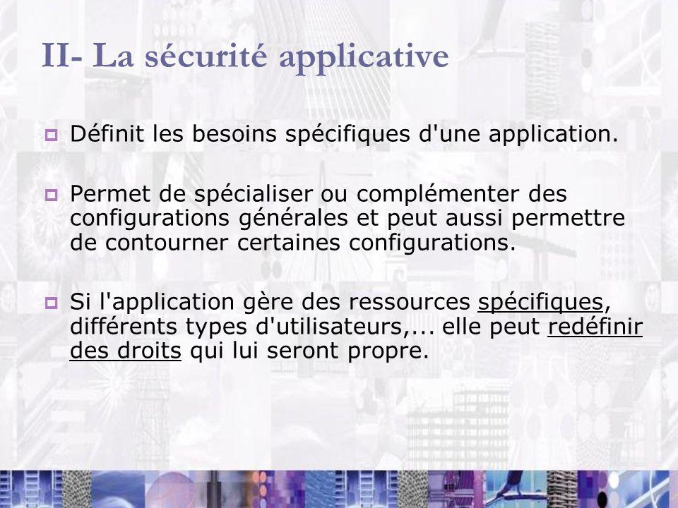 II- La sécurité applicative Définit les besoins spécifiques d'une application. Permet de spécialiser ou complémenter des configurations générales et p