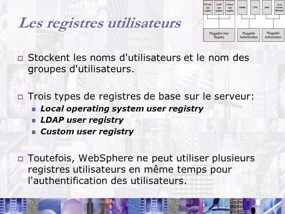 Les registres utilisateurs Stockent les noms d'utilisateurs et le nom des groupes d'utilisateurs. Trois types de registres de base sur le serveur: Loc