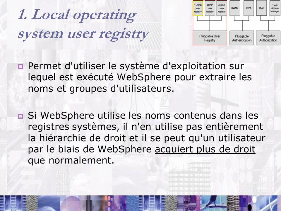 1. Local operating system user registry Permet d'utiliser le système d'exploitation sur lequel est exécuté WebSphere pour extraire les noms et groupes