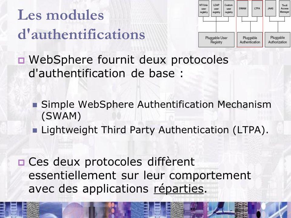 Les modules d'authentifications WebSphere fournit deux protocoles d'authentification de base : Simple WebSphere Authentification Mechanism (SWAM) Ligh