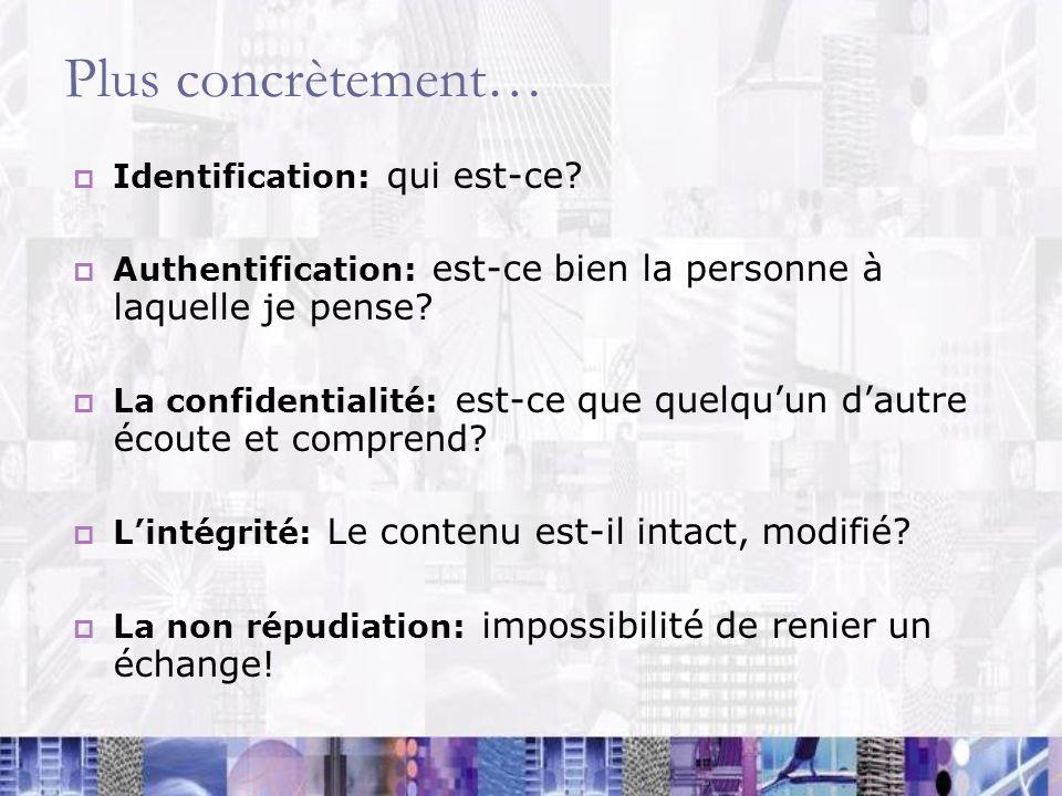 Plus concrètement… Identification: qui est-ce? Authentification: est-ce bien la personne à laquelle je pense? La confidentialité: est-ce que quelquun