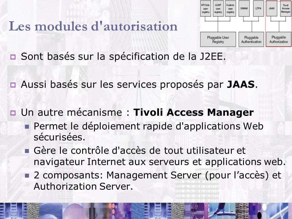 Les modules d'autorisation Sont basés sur la spécification de la J2EE. Aussi basés sur les services proposés par JAAS. Un autre mécanisme : Tivoli Acc
