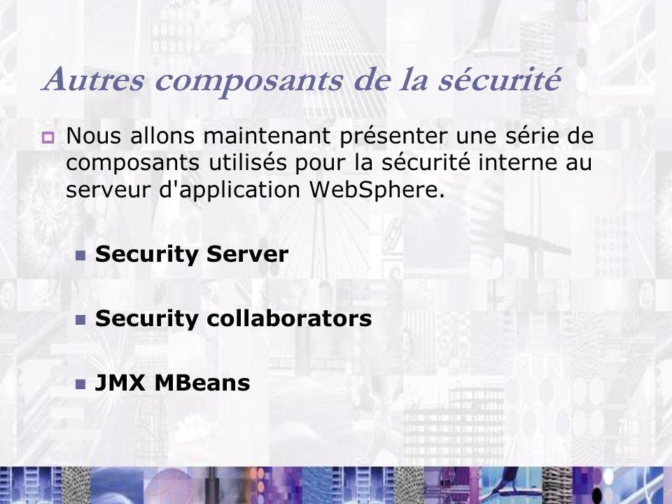 Autres composants de la sécurité Nous allons maintenant présenter une série de composants utilisés pour la sécurité interne au serveur d'application W