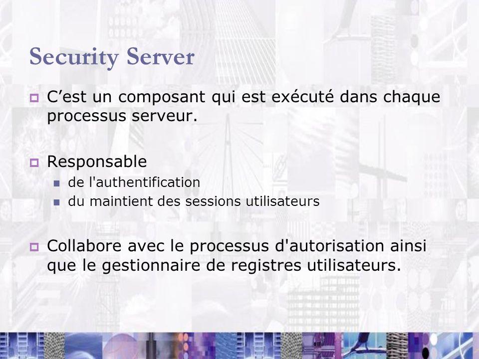 Security Server Cest un composant qui est exécuté dans chaque processus serveur. Responsable de l'authentification du maintient des sessions utilisate