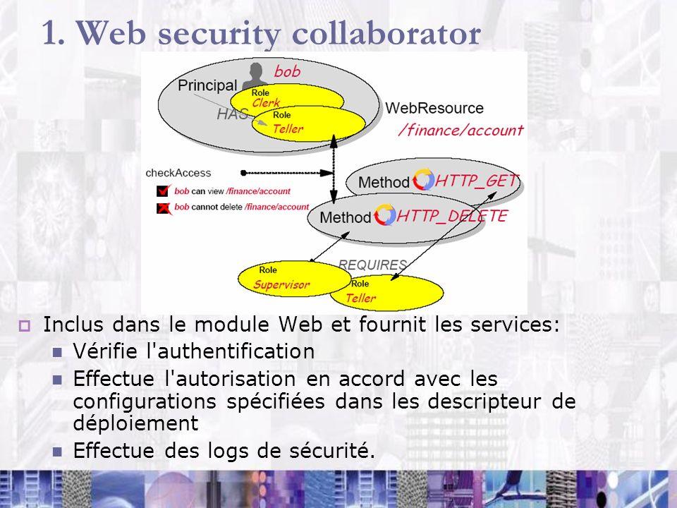 1. Web security collaborator Inclus dans le module Web et fournit les services: Vérifie l'authentification Effectue l'autorisation en accord avec les
