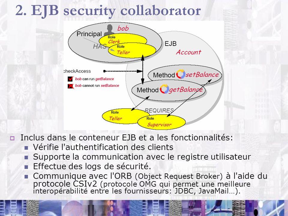 2. EJB security collaborator Inclus dans le conteneur EJB et a les fonctionnalités: Vérifie l'authentification des clients Supporte la communication a